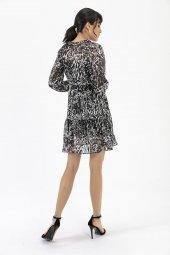 Liplipo Beli Lastikli Desenli Elbise-6