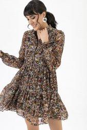 Liplipo Yakalı Çiçek Desen Elbise