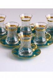 Paşabahçe Dekorlu 6 Kişilik Çay Bardak Takımı