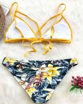 Angelsin Baskılı Üstü Sarı Bikini Takım Çok Renkli-6