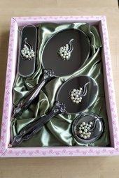 Hediyelik Saraylı Çeyizlik Ayna Tarak Seti 4 Parça Gümüş