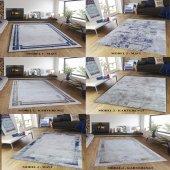 Mavi Kahverengi Çerçeveli Eskitme Patchwork Oturma Odası Halısı Kahverengi 120x180 Model 3
