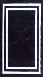 YÜKSEK KALİTE KARE DESEN OTURMA ODASI SALON HALI SİYAH BEYAZ HALI  Siyah Taban Beyaz Çerçeve 120x180-4