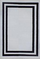 YÜKSEK KALİTE KARE DESEN OTURMA ODASI SALON HALI SİYAH BEYAZ HALI  Siyah Taban Beyaz Çerçeve 120x180-7