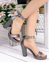 Narcissa Platin Cilt Platform Topuk Ayakkabı