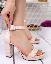 Narcissa Krem Cilt Desenli Platform Topuk Ayakkabı
