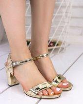 Tanya Altın Rugan Topuklu Ayakkabı-4