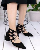 Lilla Siyah Süet Topuklu Ayakkabı