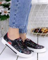 Marci Siyah Cilt  Kalp Detaylı Spor Ayakkabı-2