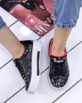 Marci Siyah Cilt  Kalp Detaylı Spor Ayakkabı-3