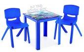 çocuk Masa Sandalye Takımı Mavi Araba H50 2s 3 7 Yaş