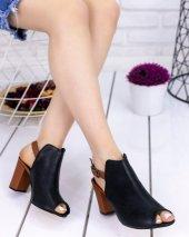 Sundan Siyah Cilt Taba Topuklu Ayakkabı-2