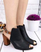 Sundan Siyah Cilt Taba Topuklu Ayakkabı-3