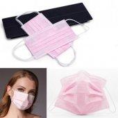 50 Adet 3 Katlı Burun Telli Ultrasonik Pembe Cerrahi Maske