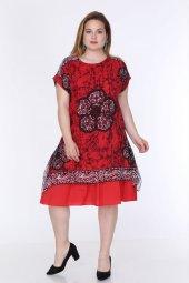 Kadın Büyük Beden Etnik Desenli Tülbent Kumaş Yazlık Elbise