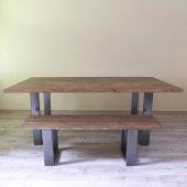 Mutfak Masası Doğal Masa Metal Ayak Bank Sehpa Doğal Dekor Masa