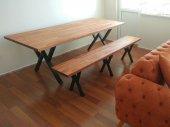 Doğal Ofis Mutfak Masası Metal Ayak Bench Masif...