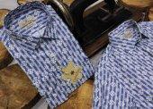 Taç Kral Çizgili Baskılı İndigo DPD029 Pamuklu Spor Erkek Gömlek