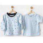 Andywawa Erkek Bebek Penye 2li Tişört Mavi Ac20566
