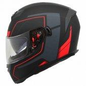 Ar1 Kapalı Vizörlü Siyah Kırmızı Motosiklet Kaskı