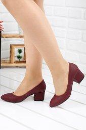 Ayakland 544 312 Ekose 5 Cm Topuk Bayan Topuklu Ayakkabı Bordo