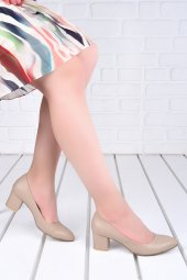 Ayakland 1990 2023 Çizgili 5 Cm Topuk Bayan Cilt Ayakkabı Ten