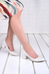 Ayakland 1990 2023 Çizgili 5 Cm Topuk Bayan Cilt Ayakkabı Sedef