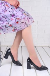 Ayakland 1019 Cilt Şeffaf 7 Cm Topuk Bayan Topuklu Ayakkabı Siyah