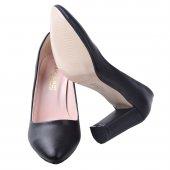 Ayakland 131012-311 Çizgili Cilt 8 Cm Topuk Bayan Ayakkabı SİYAH-5