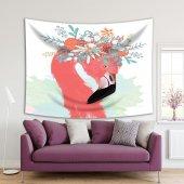 Sulu Boya Etkili Pelikan Çiçek Deseni Duvar Örtüsü