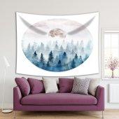 Suluboya Etkili Mavi Çam Ay Desenli Duvar Örtüsü