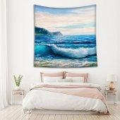 Yaglı Boya Etkili Deniz Dalga Desenli Duvar Örtüsü-2