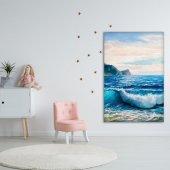 Yaglı Boya Etkili Deniz Dalga Desenli Duvar Örtüsü-3