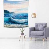 Yaglı Boya Etkili Deniz Dalga Desenli Duvar Örtüsü-4
