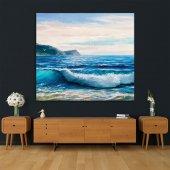 Yaglı Boya Etkili Deniz Dalga Desenli Duvar Örtüsü-5