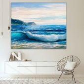 Yaglı Boya Etkili Deniz Dalga Desenli Duvar Örtüsü-6