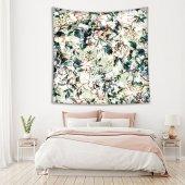 Yeşil Zeminli Beyaz Çiçek Desenli Duvar Örtüsü-2