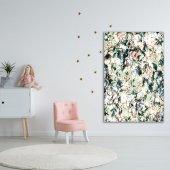 Yeşil Zeminli Beyaz Çiçek Desenli Duvar Örtüsü-3