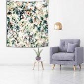 Yeşil Zeminli Beyaz Çiçek Desenli Duvar Örtüsü-4