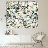 Yeşil Zeminli Beyaz Çiçek Desenli Duvar Örtüsü-6