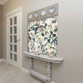 Yeşil Zeminli Beyaz Çiçek Desenli Duvar Örtüsü-7