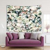 Yeşil Zeminli Beyaz Çiçek Desenli Duvar Örtüsü