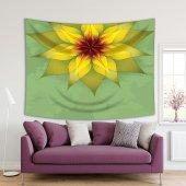 Yeşil Antika Arka Plan Sarı Çiçek Desenli Duvar Örtüsü