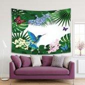Tropikal Çiçek Kuş Kelebek Desenli Duvar Örtüsü