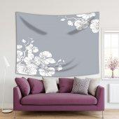 Orkide Dallı Gri Zemin Desenli Duvar Örtüsü