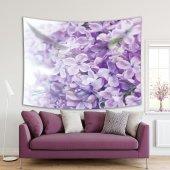 Menekşe Çiçek Desenli Mor Duvar Örtüsü