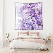 Menekşe Çiçek Desenli Mor Duvar Örtüsü-2