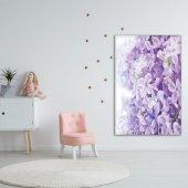 Menekşe Çiçek Desenli Mor Duvar Örtüsü-3