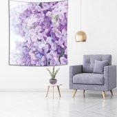 Menekşe Çiçek Desenli Mor Duvar Örtüsü-4