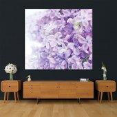 Menekşe Çiçek Desenli Mor Duvar Örtüsü-5